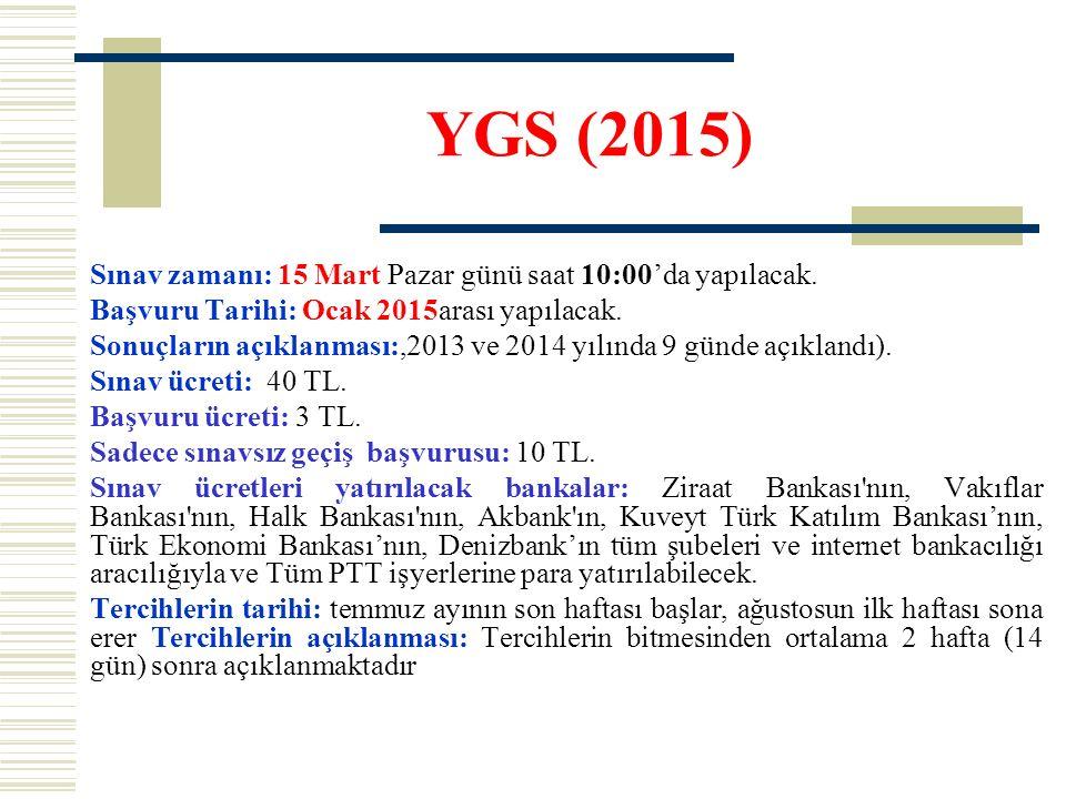 YGS (2015) Sınav zamanı: 15 Mart Pazar günü saat 10:00'da yapılacak. Başvuru Tarihi: Ocak 2015arası yapılacak. Sonuçların açıklanması:,2013 ve 2014 yı
