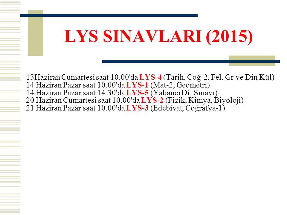 LYS SINAVLARI (2015) 13Haziran Cumartesi saat 10.00'da LYS-4 (Tarih, Coğ-2, Fel. Gr ve Din Kül) 14 Haziran Pazar saat 10.00'da LYS-1 (Mat-2, Geometri)