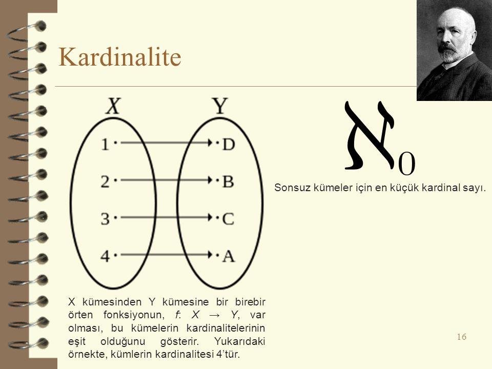 Kardinalite 16 X kümesinden Y kümesine bir birebir örten fonksiyonun, f: X → Y, var olması, bu kümelerin kardinalitelerinin eşit olduğunu gösterir. Yu