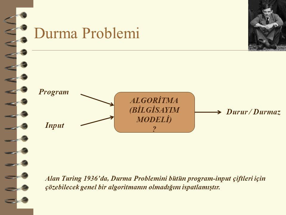 Durma Problemi ALGORİTMA (BİLGİSAYIM MODELİ) ? Program Input Durur / Durmaz Alan Turing 1936'da, Durma Problemini bütün program-input çiftleri için çö