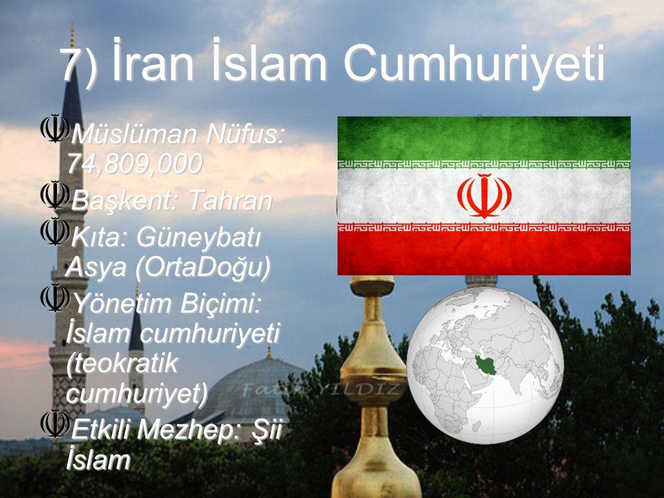 8) Türkiye Cumhuriyeti Müslüman Nüfus: 74,665,000 Başkent: Ankara Kıta: Avrasya (Avrupa&Asya) Yönetim Biçimi: Demokratik üniter parlamenter cumhuriyet Etkili Mezhep: Sunni İslam