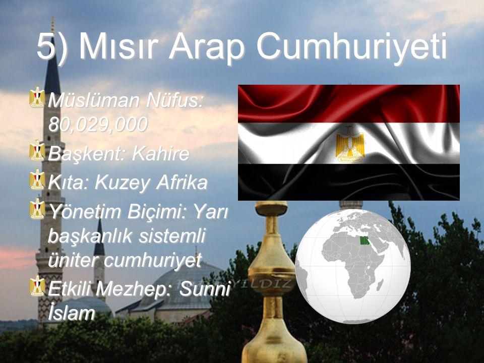 6) Nijerya Federal Cumhuriyeti Müslüman Nüfus: 75,723,000 Başkent: Abuja Kıta: Batı Afrika Yönetim Biçimi: Federal başkanlık cumhuriyeti Etkili Mezhep: Şii İslam