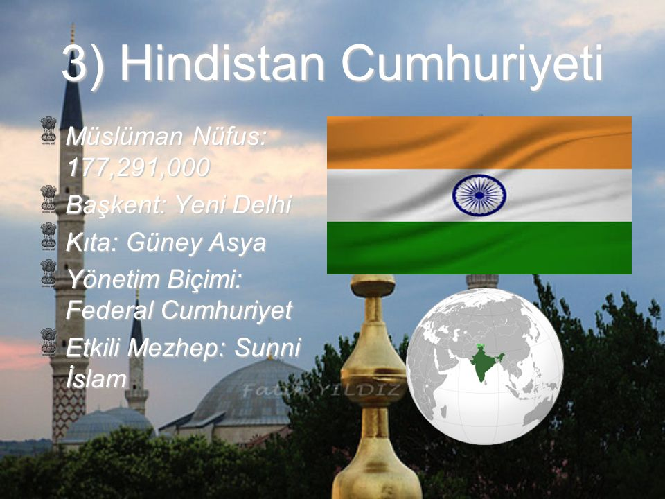 4) Bangladeş Halk Cumhuriyeti Müslüman Nüfus: 148,602,000 Başkent: Dakka Kıta: Güney Asya Yönetim Biçimi: Cumhuriyet Etkili Mezhep: Sunni İslam