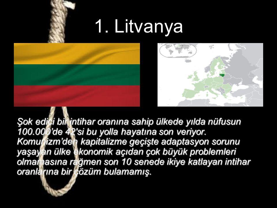 2. Rusya Özellikle ergen yaşlarda intihar vakalarının çok olduğu bir ülke olan Rusya'da bunun sebeplerini, alkol, aile içi şiddet ve kötü ebeveynlik o