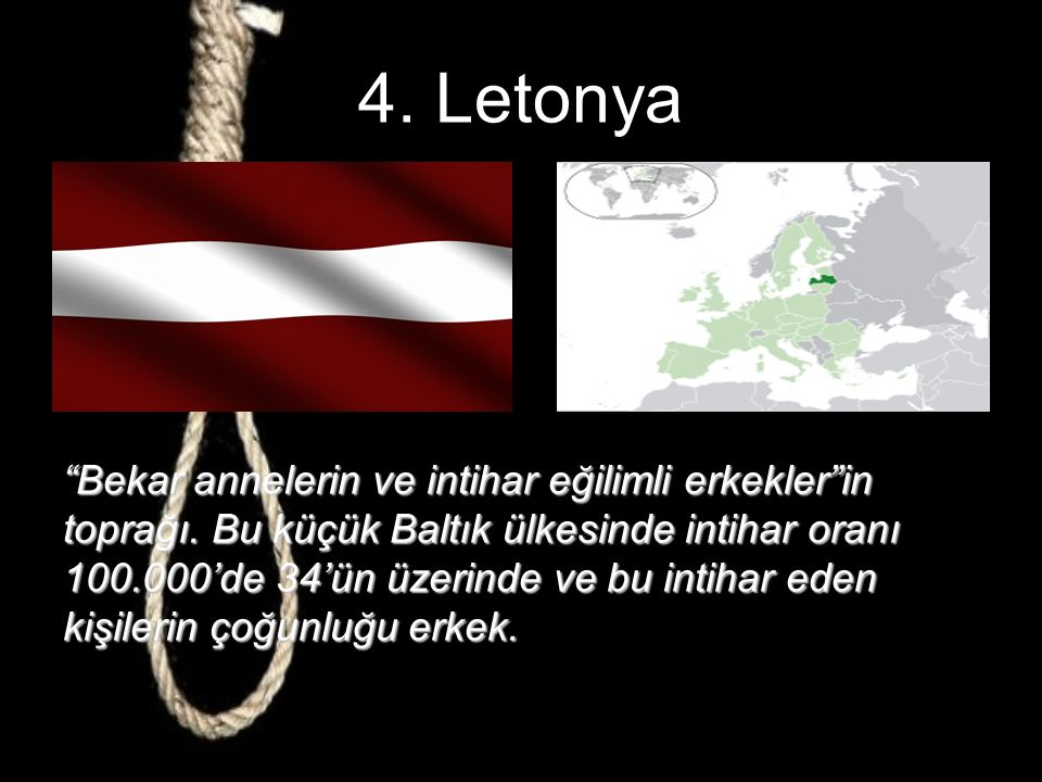 5. Estonya Bağımsızlıklarını kazanmadan önce 100.000 16 olan intihar oranı bağımsızlıktan sonra büyük bir artış göstererek 33.2'ye çıkmış. Ekonomik da