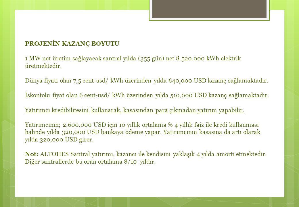 PROJENİN KAZANÇ BOYUTU 1 MW net üretim sağlayacak santral yılda (355 gün) net 8.520.000 kWh elektrik üretmektedir.