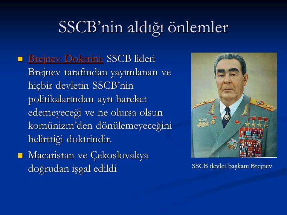 SSCB'nin aldığı önlemler Brejnev Doktrini: SSCB lideri Brejnev tarafından yayımlanan ve hiçbir devletin SSCB'nin politikalarından ayrı hareket edemeyeceği ve ne olursa olsun komünizm'den dönülemeyeceğini belirttiği doktrindir.