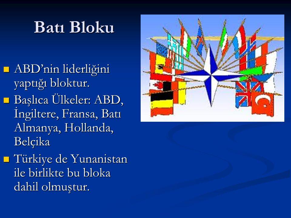 Batı Bloku ABD'nin liderliğini yaptığı bloktur.ABD'nin liderliğini yaptığı bloktur.