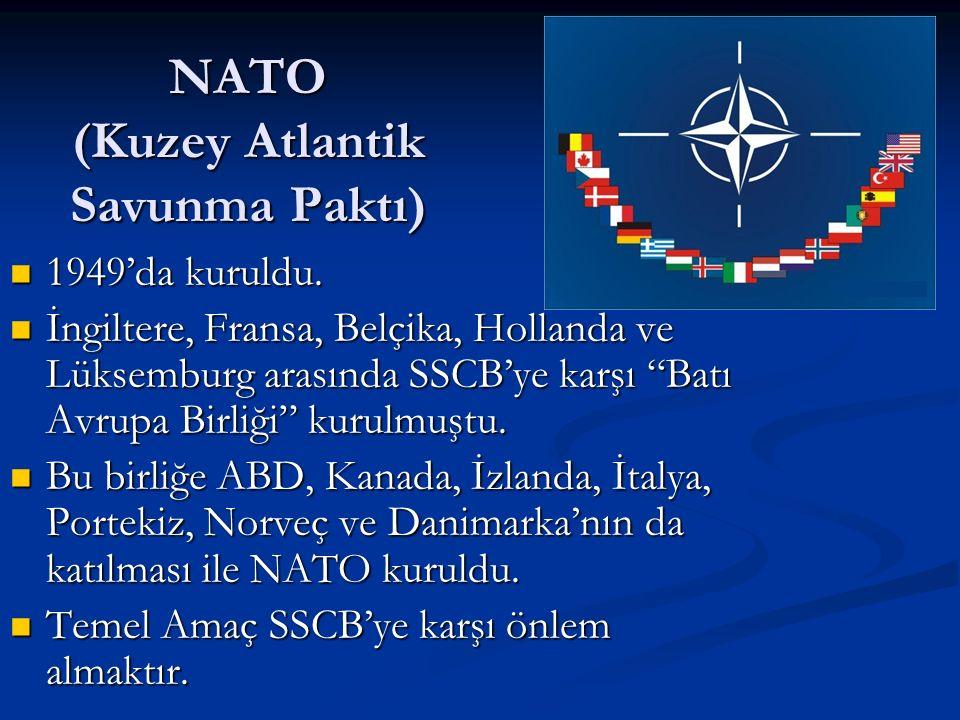 NATO (Kuzey Atlantik Savunma Paktı) 1949'da kuruldu.