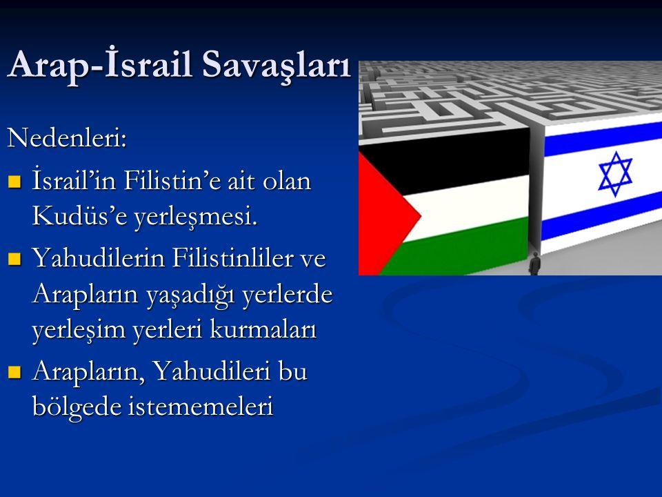 Arap-İsrail Savaşları Nedenleri: İsrail'in Filistin'e ait olan Kudüs'e yerleşmesi.