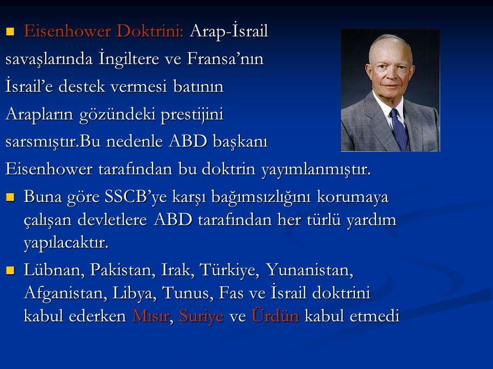 Eisenhower Doktrini: Arap-İsrail Eisenhower Doktrini: Arap-İsrail savaşlarında İngiltere ve Fransa'nın İsrail'e destek vermesi batının Arapların gözündeki prestijini sarsmıştır.Bu nedenle ABD başkanı Eisenhower tarafından bu doktrin yayımlanmıştır.
