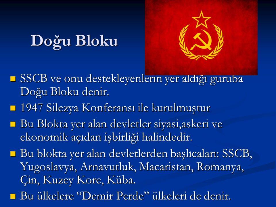 Doğu Bloku SSCB ve onu destekleyenlerin yer aldığı guruba Doğu Bloku denir.