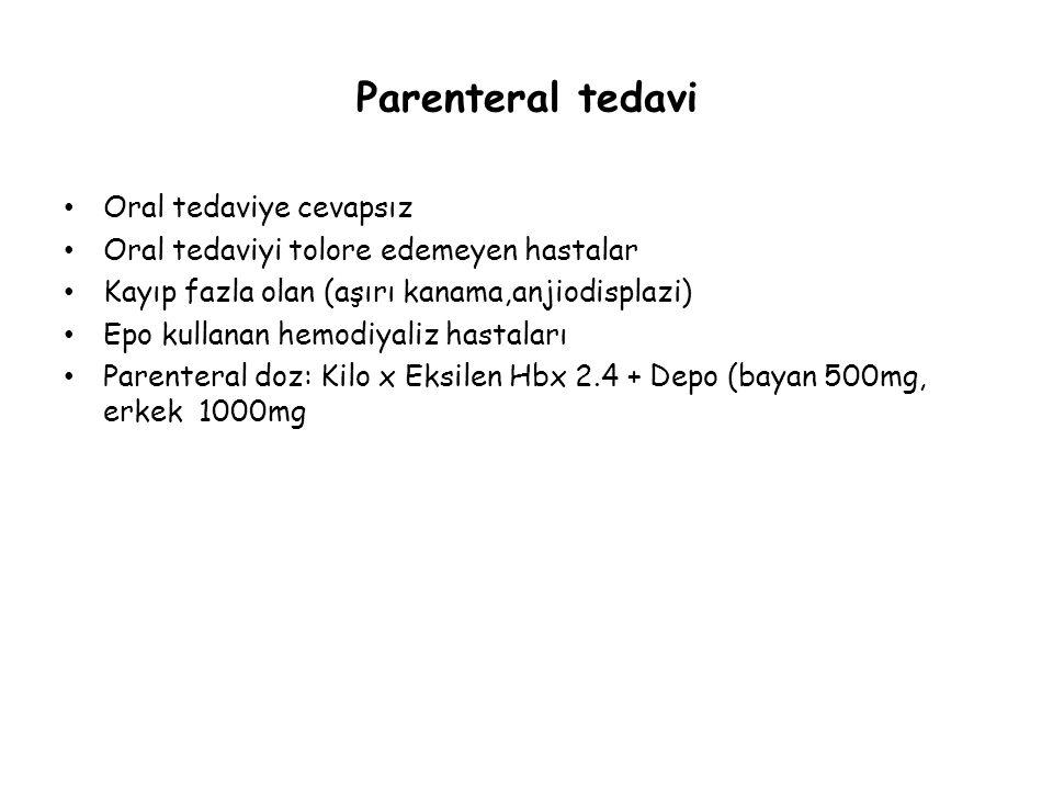 Parenteral tedavi Oral tedaviye cevapsız Oral tedaviyi tolore edemeyen hastalar Kayıp fazla olan (aşırı kanama,anjiodisplazi) Epo kullanan hemodiyaliz