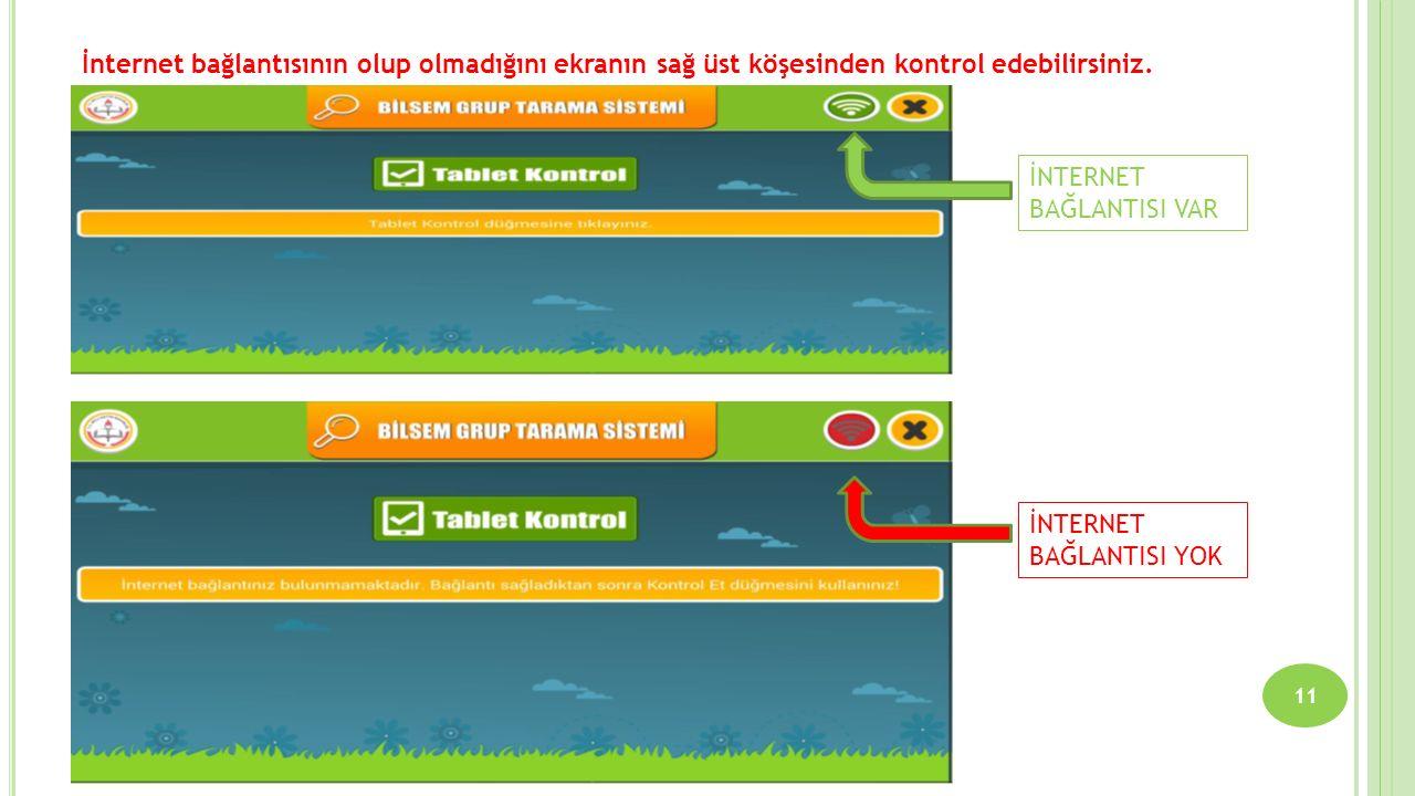 11 İnternet bağlantısının olup olmadığını ekranın sağ üst köşesinden kontrol edebilirsiniz. İNTERNET BAĞLANTISI VAR İNTERNET BAĞLANTISI YOK