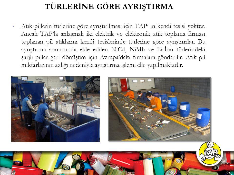 TÜRLERİNE GÖRE AYRIŞTIRMA Atık pillerin türlerine göre ayrıştırılması için TAP' ın kendi tesisi yoktur.