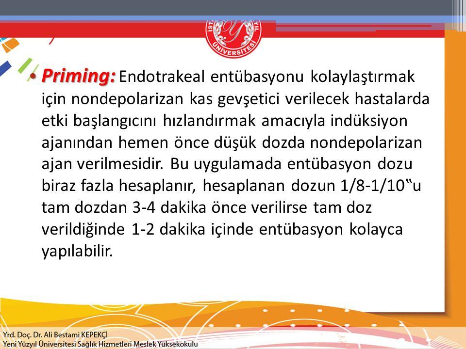Priming: Priming: Endotrakeal entübasyonu kolaylaştırmak için nondepolarizan kas gevşetici verilecek hastalarda etki başlangıcını hızlandırmak amacıyl