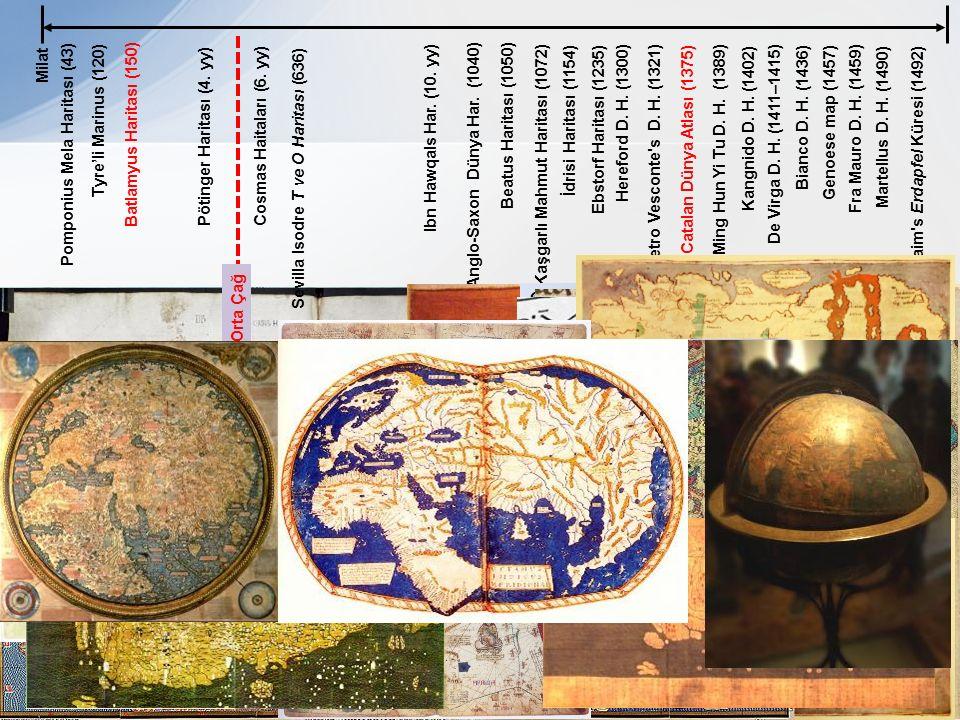 Milat Pomponius Mela Haritası (43) Batlamyus Haritası (150) Pötinger Haritası (4. yy) Tyre'li Marinus (120) Cosmas Haitaları (6. yy) Sevilla Isodre T