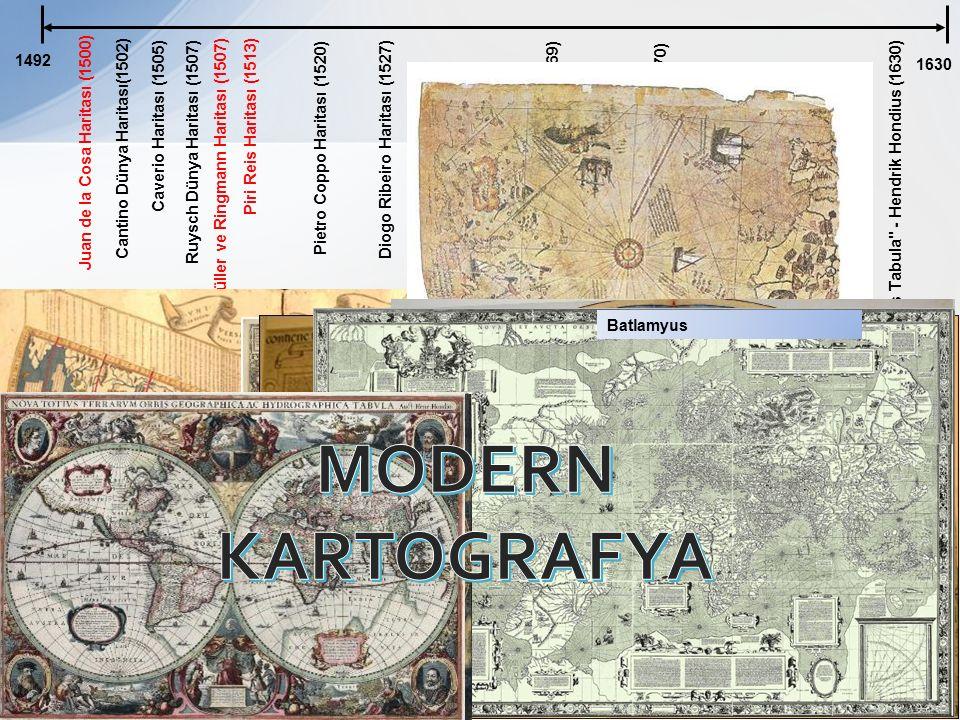 1492 1630 Juan de la Cosa Haritası (1500) Cantino Dünya Haritası(1502) Caverio Haritası (1505) Ruysch Dünya Haritası (1507) Waldseemüller ve Ringmann