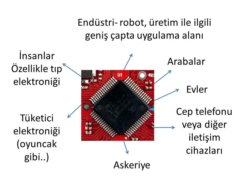 Arabalar Evler Cep telefonu veya diğer iletişim cihazları Endüstri- robot, üretim ile ilgili geniş çapta uygulama alanı İnsanlar Özellikle tıp elektro
