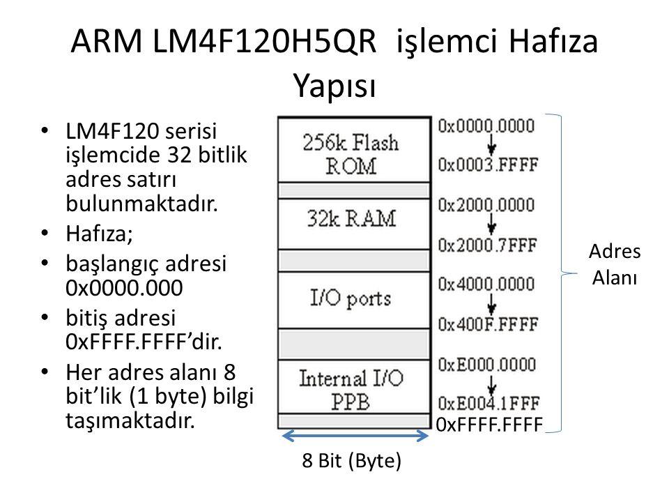 ARM LM4F120H5QR işlemci Hafıza Yapısı LM4F120 serisi işlemcide 32 bitlik adres satırı bulunmaktadır. Hafıza; başlangıç adresi 0x0000.000 bitiş adresi