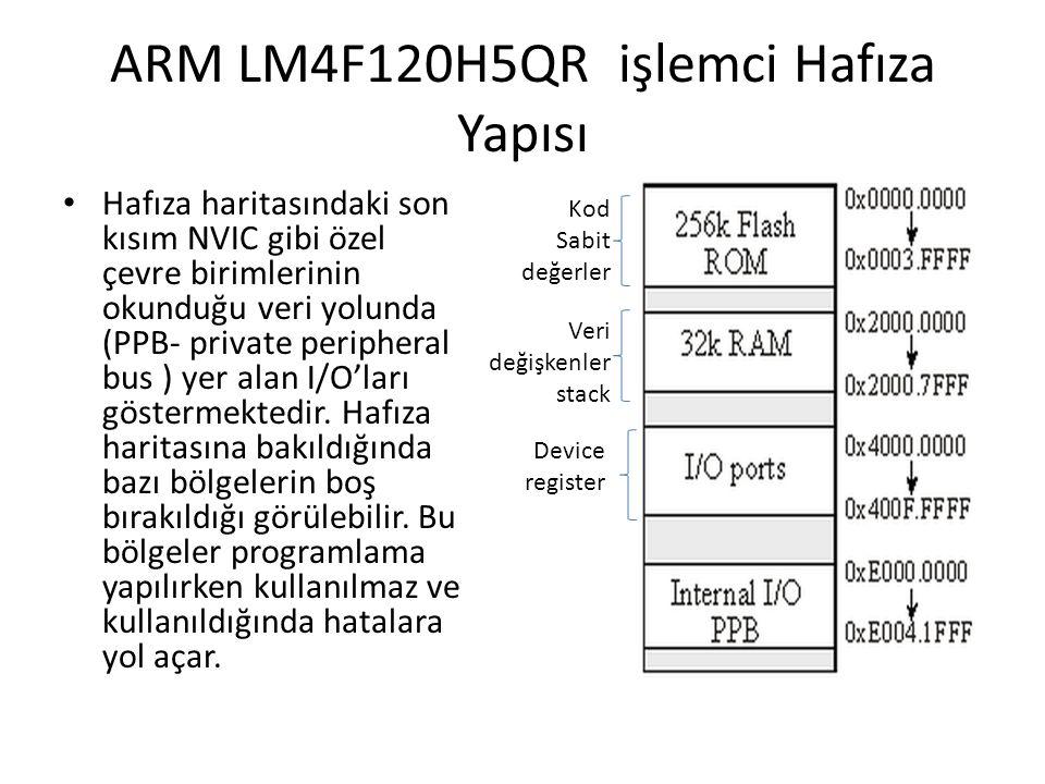 ARM LM4F120H5QR işlemci Hafıza Yapısı Hafıza haritasındaki son kısım NVIC gibi özel çevre birimlerinin okunduğu veri yolunda (PPB- private peripheral