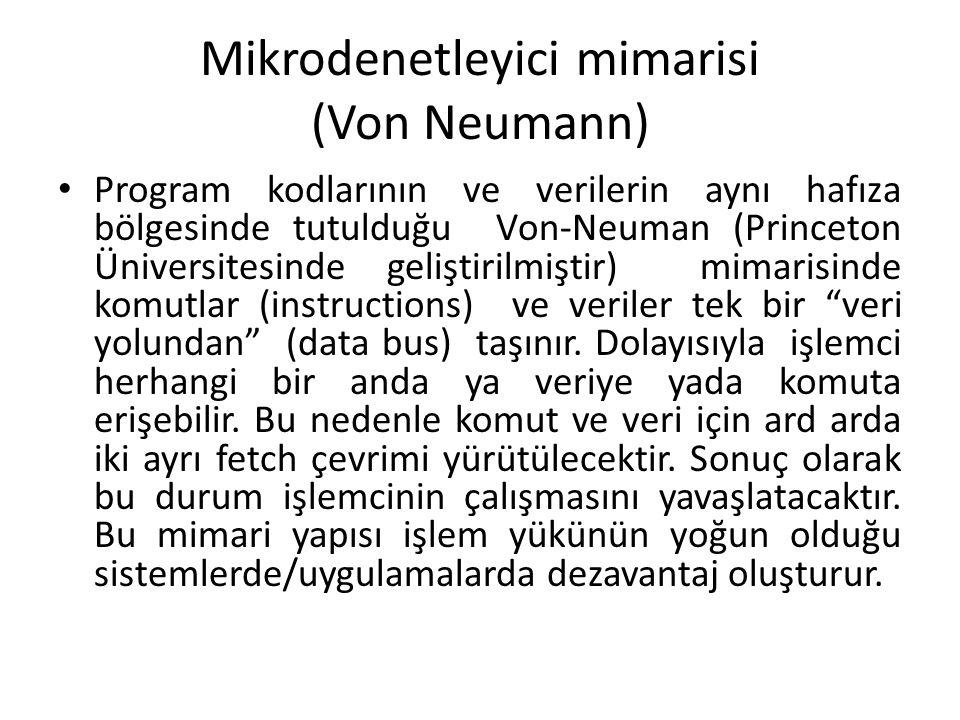 Mikrodenetleyici mimarisi (Von Neumann) Program kodlarının ve verilerin aynı hafıza bölgesinde tutulduğu Von-Neuman (Princeton Üniversitesinde gelişti