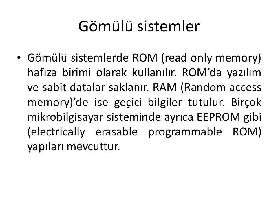 Gömülü sistemler Gömülü sistemlerde ROM (read only memory) hafıza birimi olarak kullanılır. ROM'da yazılım ve sabit datalar saklanır. RAM (Random acce