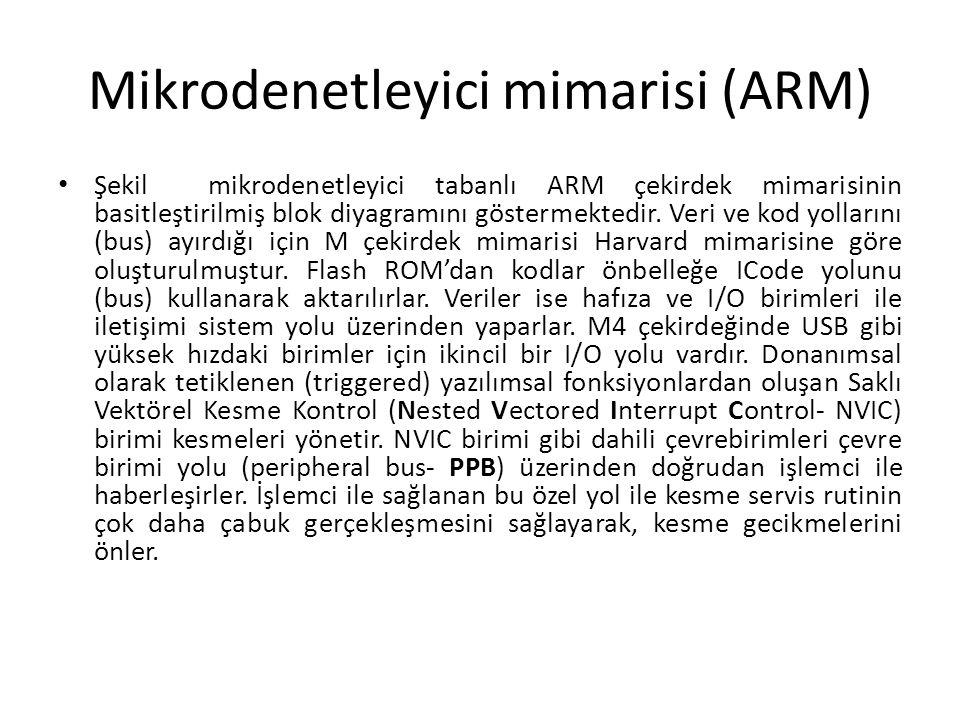 Mikrodenetleyici mimarisi (ARM) Şekil mikrodenetleyici tabanlı ARM çekirdek mimarisinin basitleştirilmiş blok diyagramını göstermektedir. Veri ve kod