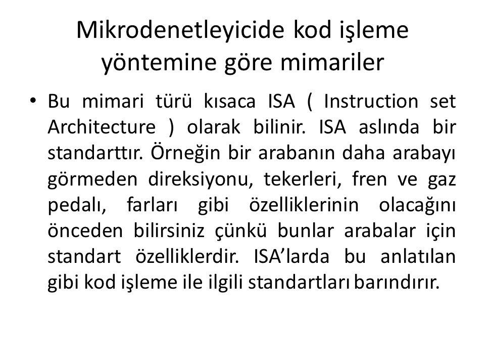 Mikrodenetleyicide kod işleme yöntemine göre mimariler Bu mimari türü kısaca ISA ( Instruction set Architecture ) olarak bilinir. ISA aslında bir stan