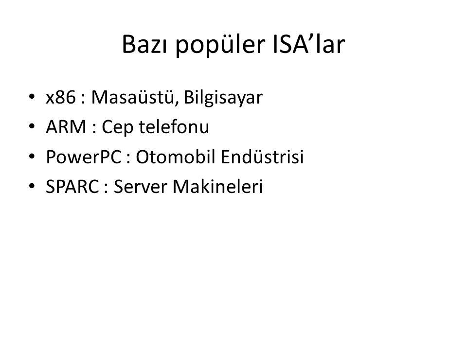 Bazı popüler ISA'lar x86 : Masaüstü, Bilgisayar ARM : Cep telefonu PowerPC : Otomobil Endüstrisi SPARC : Server Makineleri