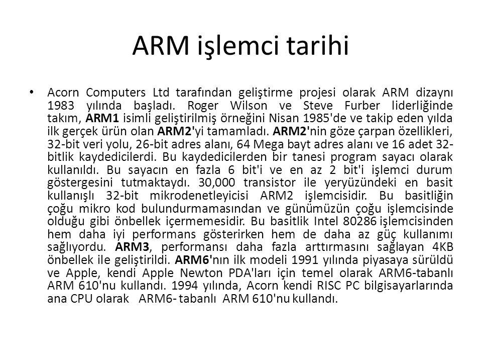 ARM işlemci tarihi Acorn Computers Ltd tarafından geliştirme projesi olarak ARM dizaynı 1983 yılında başladı. Roger Wilson ve Steve Furber liderliğind