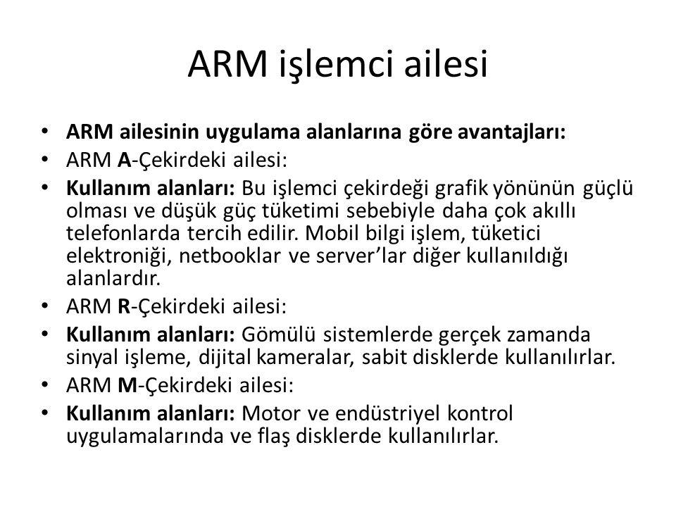 ARM ailesinin uygulama alanlarına göre avantajları: ARM A-Çekirdeki ailesi: Kullanım alanları: Bu işlemci çekirdeği grafik yönünün güçlü olması ve düş