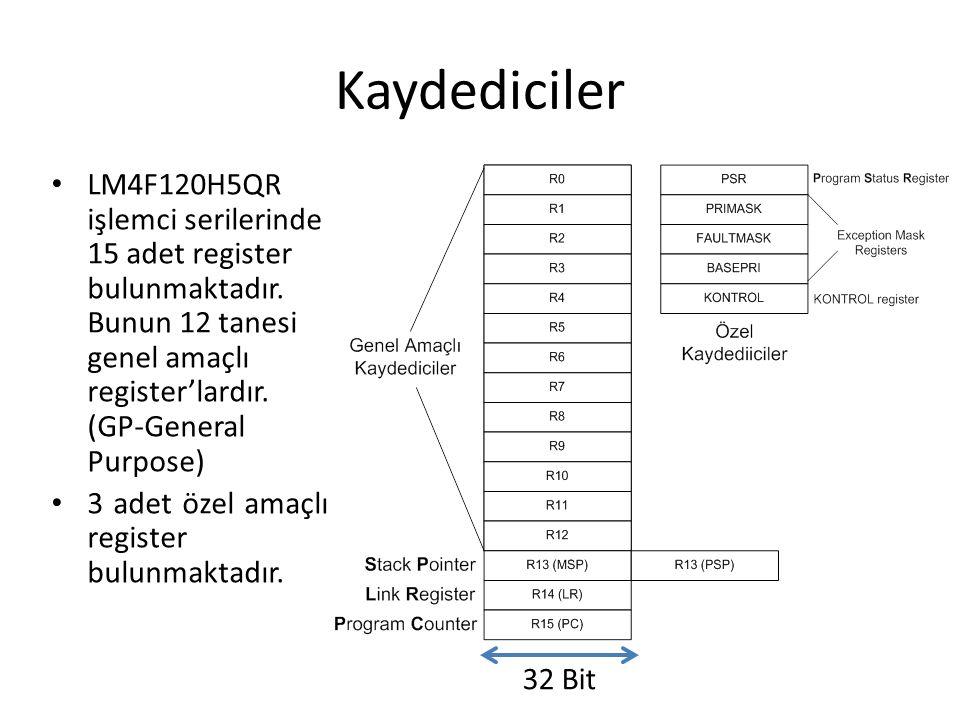 Kaydediciler LM4F120H5QR işlemci serilerinde 15 adet register bulunmaktadır. Bunun 12 tanesi genel amaçlı register'lardır. (GP-General Purpose) 3 adet