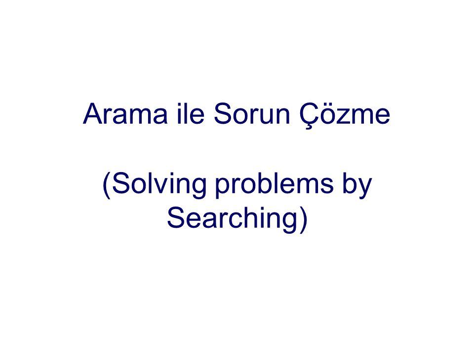 Bir sonraki ders: Arama Türleri Bilgisiz Arama (Körlemesine arama) Enine arama (Breadth-first search) Derinine arama (Depth-first search) Tekbiçim_Değer Araması (Uniform-cost search) İteratif derinine arama (Iterative deeping search) İki yönlü arama (Bi-directional search) Bilgili Arama Stratejileri (Sezgisel yöntemler) En iyisini arama (generic best-first search) Hırslı arama (Greedy best-best-first search) Işın arama (Beam search) A* araması (A* search) Özyinelemeli en iyisini arama (RBFS – Recursive best-first search) Tüm arama yöntemlerinde başlıca düşünce, kısmı çözüm ardışıklıkları kümesini bulmak ve genişletmektir