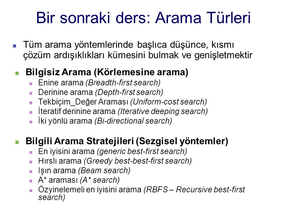Bir sonraki ders: Arama Türleri Bilgisiz Arama (Körlemesine arama) Enine arama (Breadth-first search) Derinine arama (Depth-first search) Tekbiçim_Değ