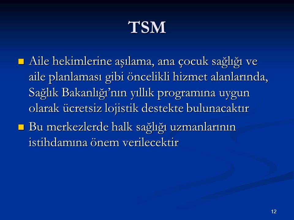 TSM Aile hekimlerine aşılama, ana çocuk sağlığı ve aile planlaması gibi öncelikli hizmet alanlarında, Sağlık Bakanlığı'nın yıllık programına uygun ola