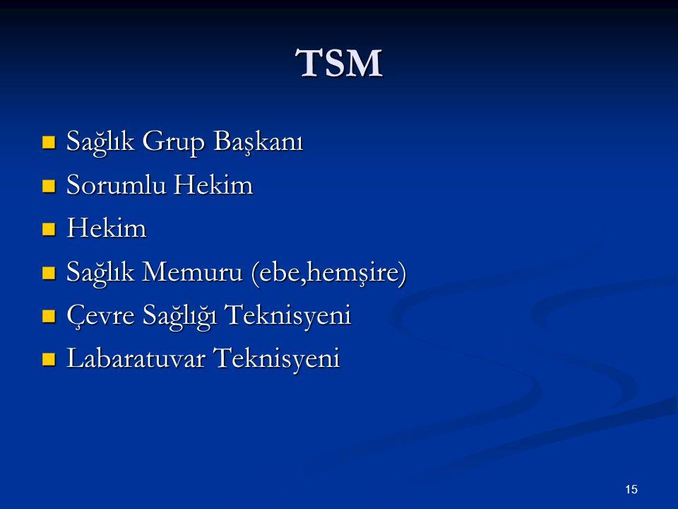 TSM Sağlık Grup Başkanı Sağlık Grup Başkanı Sorumlu Hekim Sorumlu Hekim Hekim Hekim Sağlık Memuru (ebe,hemşire) Sağlık Memuru (ebe,hemşire) Çevre Sağl