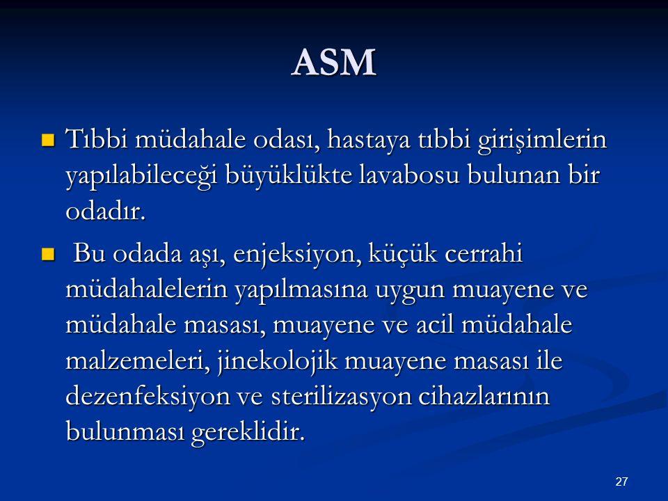 ASM Tıbbi müdahale odası, hastaya tıbbi girişimlerin yapılabileceği büyüklükte lavabosu bulunan bir odadır. Tıbbi müdahale odası, hastaya tıbbi girişi