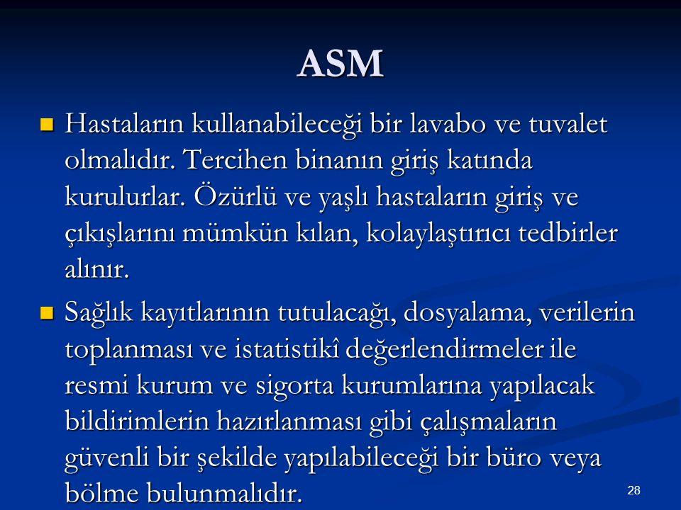 ASM Hastaların kullanabileceği bir lavabo ve tuvalet olmalıdır. Tercihen binanın giriş katında kurulurlar. Özürlü ve yaşlı hastaların giriş ve çıkışla