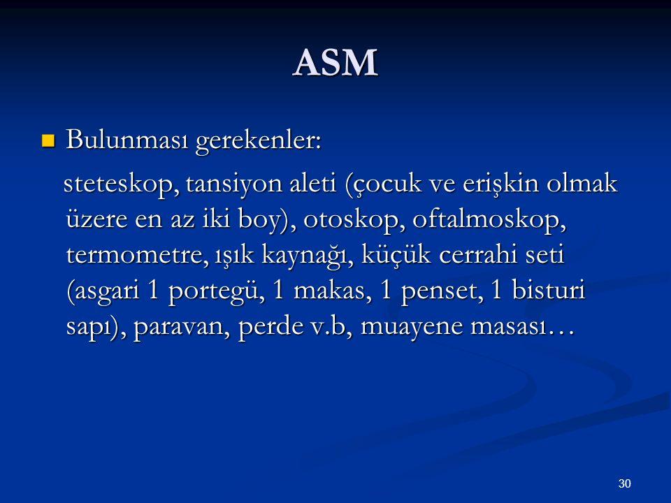 ASM Bulunması gerekenler: Bulunması gerekenler: steteskop, tansiyon aleti (çocuk ve erişkin olmak üzere en az iki boy), otoskop, oftalmoskop, termomet