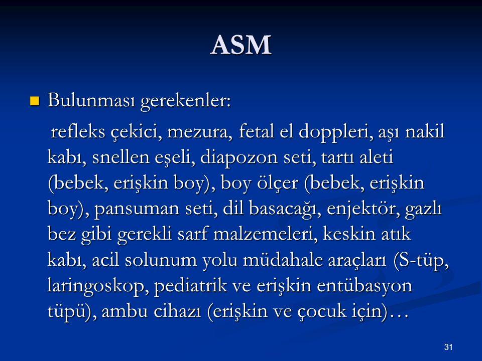 ASM Bulunması gerekenler: Bulunması gerekenler: refleks çekici, mezura, fetal el doppleri, aşı nakil kabı, snellen eşeli, diapozon seti, tartı aleti (