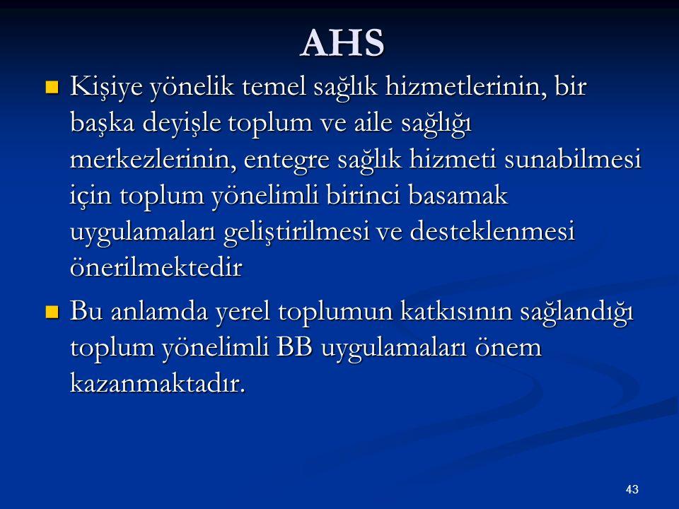 AHS Kişiye yönelik temel sağlık hizmetlerinin, bir başka deyişle toplum ve aile sağlığı merkezlerinin, entegre sağlık hizmeti sunabilmesi için toplum
