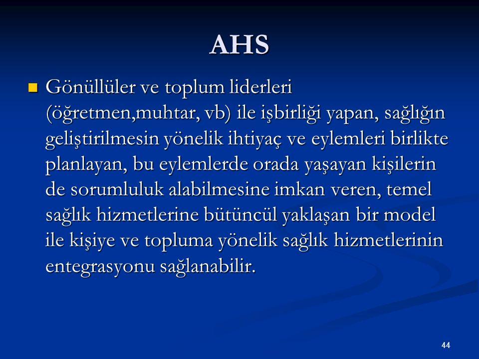 AHS Gönüllüler ve toplum liderleri (öğretmen,muhtar, vb) ile işbirliği yapan, sağlığın geliştirilmesin yönelik ihtiyaç ve eylemleri birlikte planlayan