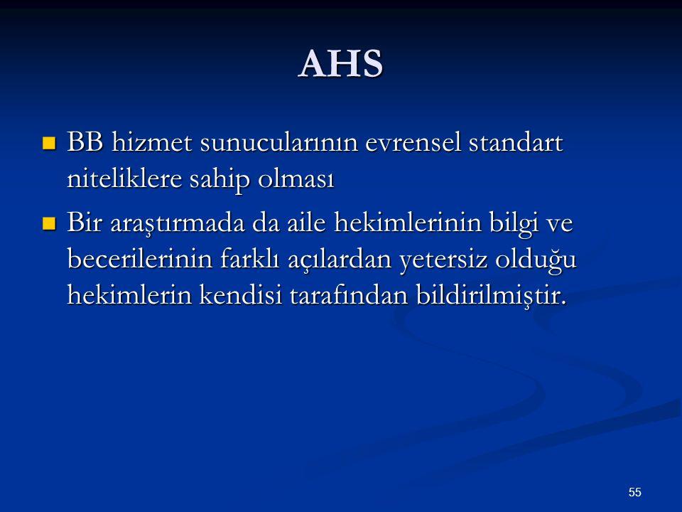 AHS BB hizmet sunucularının evrensel standart niteliklere sahip olması BB hizmet sunucularının evrensel standart niteliklere sahip olması Bir araştırm