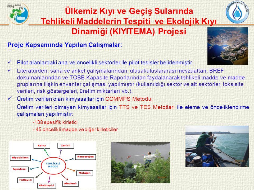 Ülkemiz Kıyı ve Geçiş Sularında Tehlikeli Maddelerin Tespiti ve Ekolojik Kıyı Dinamiği (KIYITEMA) Projesi Proje Kapsamında Yapılan Çalışmalar: Pilot a