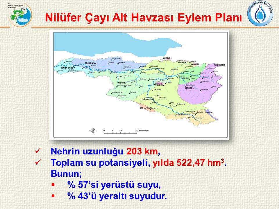 Nilüfer Çayı Alt Havzası Eylem Planı Nehrin uzunluğu 203 km, Toplam su potansiyeli, yılda 522,47 hm 3. Bunun;  % 57'si yerüstü suyu,  % 43'ü yeraltı