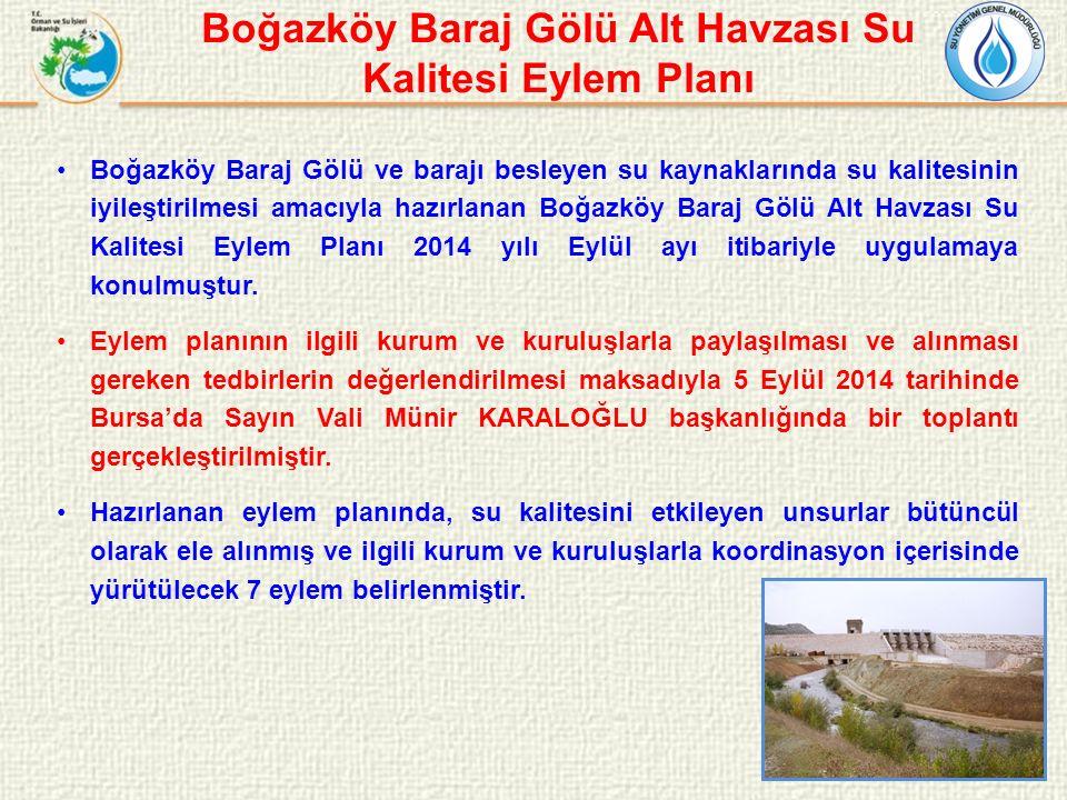 Boğazköy Baraj Gölü ve barajı besleyen su kaynaklarında su kalitesinin iyileştirilmesi amacıyla hazırlanan Boğazköy Baraj Gölü Alt Havzası Su Kalitesi