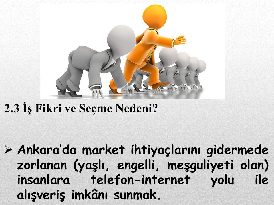  Ankara'da market ihtiyaçlarını gidermede zorlanan (yaşlı, engelli, meşguliyeti olan) insanlara telefon-internet yolu ile alışveriş imkânı sunmak. 2.