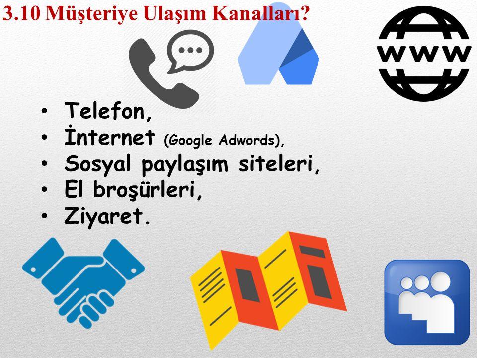 Telefon, İnternet (Google Adwords), Sosyal paylaşım siteleri, El broşürleri, Ziyaret. 3.10 Müşteriye Ulaşım Kanalları?