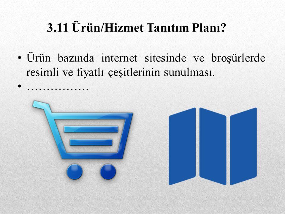 Ürün bazında internet sitesinde ve broşürlerde resimli ve fiyatlı çeşitlerinin sunulması. ……………. 3.11 Ürün/Hizmet Tanıtım Planı?